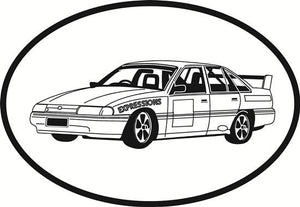 Auto Racing 2 decal from Oval Envy.  Great price for a durable vinyl decal.  We've got animals, beaches, dogs, cats and more!  Search our catalog for your next Euro Oval Decal.