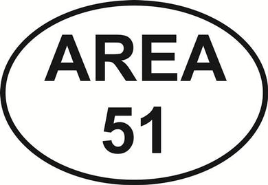 Area 51 decal from Oval Envy.  Great price for a durable vinyl decal.  We've got animals, beaches, dogs, cats and more!  Search our catalog for your next Euro Oval Decal.