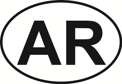 Arkansas (AR) decal from Oval Envy.  Great price for a durable vinyl decal.  We've got animals, beaches, dogs, cats and more!  Search our catalog for your next Euro Oval Decal.