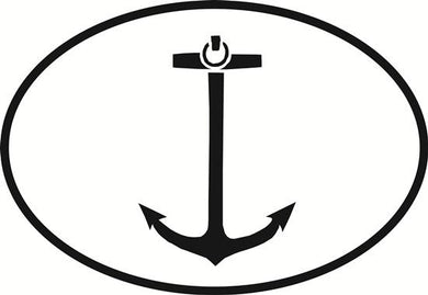 Anchor decal from Oval Envy.  Great price for a durable vinyl decal.  We've got animals, beaches, dogs, cats and more!  Search our catalog for your next Euro Oval Decal.
