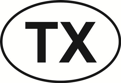 Texas (TX) decal from Oval Envy.  Great price for a durable vinyl decal.  We've got animals, beaches, dogs, cats and more!  Search our catalog for your next Euro Oval Decal.