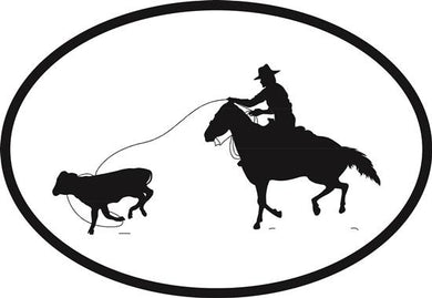 Calf Roper decal from Oval Envy.  Great price for a durable vinyl decal.  We've got animals, beaches, dogs, cats and more!  Search our catalog for your next Euro Oval Decal.