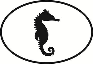 Seahorse decal from Oval Envy.  Great price for a durable vinyl decal.  We've got animals, beaches, dogs, cats and more!  Search our catalog for your next Euro Oval Decal.