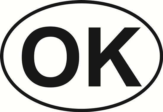 Oklahoma (OK) decal from Oval Envy.  Great price for a durable vinyl decal.  We've got animals, beaches, dogs, cats and more!  Search our catalog for your next Euro Oval Decal.