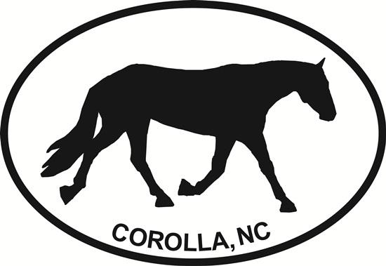 Corolla Horse decal from Oval Envy.  Great price for a durable vinyl decal.  We've got animals, beaches, dogs, cats and more!  Search our catalog for your next Euro Oval Decal.