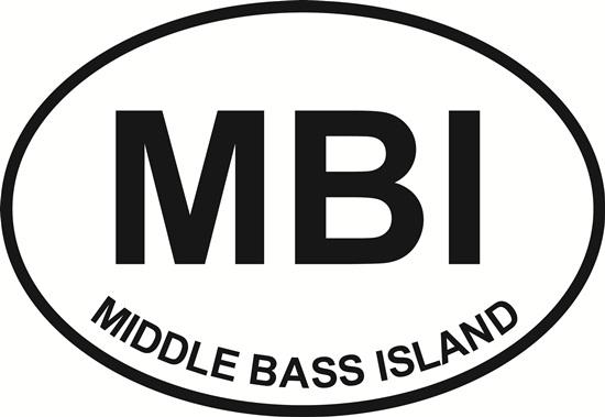 Middle Bass Island (MBI) decal from Oval Envy.  Great price for a durable vinyl decal.  We've got animals, beaches, dogs, cats and more!  Search our catalog for your next Euro Oval Decal.