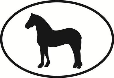 Friesian decal from Oval Envy.  Great price for a durable vinyl decal.  We've got animals, beaches, dogs, cats and more!  Search our catalog for your next Euro Oval Decal.
