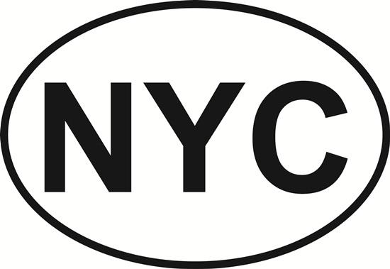 New York City (NYC) decal from Oval Envy.  Great price for a durable vinyl decal.  We've got animals, beaches, dogs, cats and more!  Search our catalog for your next Euro Oval Decal.