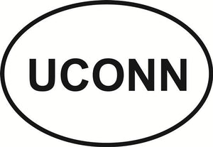 UCONN decal from Oval Envy.  Great price for a durable vinyl decal.  We've got animals, beaches, dogs, cats and more!  Search our catalog for your next Euro Oval Decal.