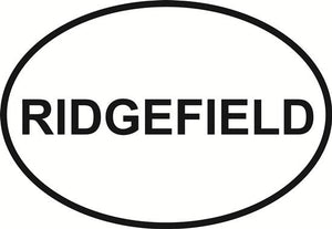 Ridgefield decal from Oval Envy.  Great price for a durable vinyl decal.  We've got animals, beaches, dogs, cats and more!  Search our catalog for your next Euro Oval Decal.