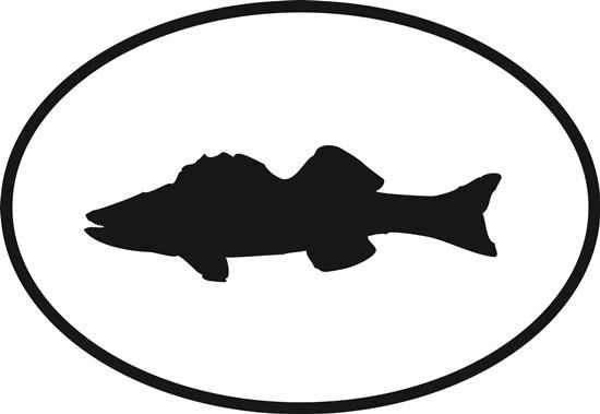 Walleye decal from Oval Envy.  Great price for a durable vinyl decal.  We've got animals, beaches, dogs, cats and more!  Search our catalog for your next Euro Oval Decal.