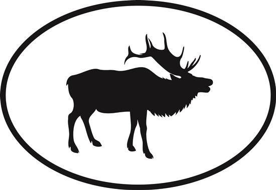 Elk decal from Oval Envy.  Great price for a durable vinyl decal.  We've got animals, beaches, dogs, cats and more!  Search our catalog for your next Euro Oval Decal.