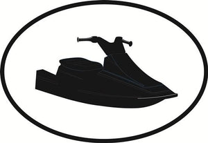 Jet ski decal from Oval Envy.  Great price for a durable vinyl decal.  We've got animals, beaches, dogs, cats and more!  Search our catalog for your next Euro Oval Decal.