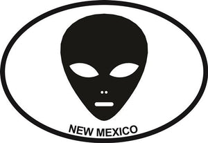 New Mexico Alien decal from Oval Envy.  Great price for a durable vinyl decal.  We've got animals, beaches, dogs, cats and more!  Search our catalog for your next Euro Oval Decal.