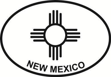 New Mexico Zia decal from Oval Envy.  Great price for a durable vinyl decal.  We've got animals, beaches, dogs, cats and more!  Search our catalog for your next Euro Oval Decal.