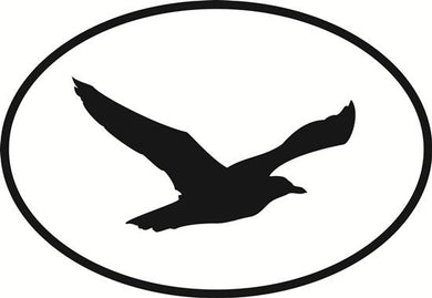 Seagull decal from Oval Envy.  Great price for a durable vinyl decal.  We've got animals, beaches, dogs, cats and more!  Search our catalog for your next Euro Oval Decal.