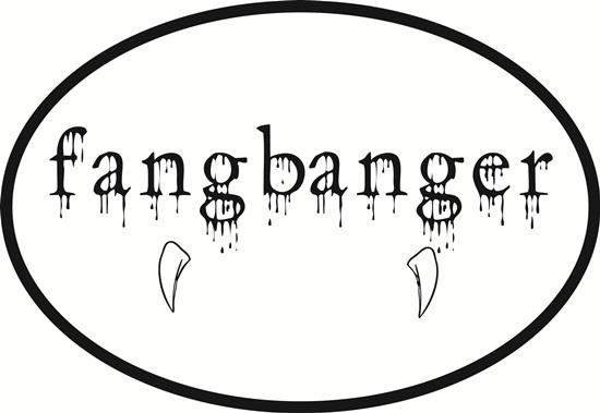Fangbanger decal from Oval Envy.  Great price for a durable vinyl decal.  We've got animals, beaches, dogs, cats and more!  Search our catalog for your next Euro Oval Decal.
