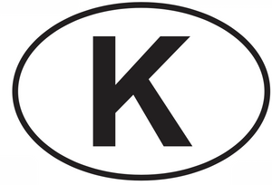 K letter / alphabet decal from Oval Envy.  Great price for a durable vinyl decal.  We've got animals, beaches, dogs, cats and more!  Search our catalog for your next Euro Oval Decal.