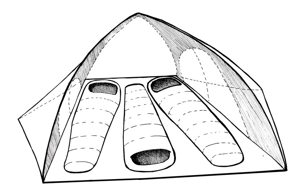 layout of a 3-person tent