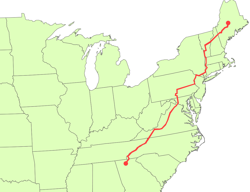 Appalachian Trail New England Map.What Is The Triple Crown Of Hiking At Vs Pct Vs Cdt Comparison