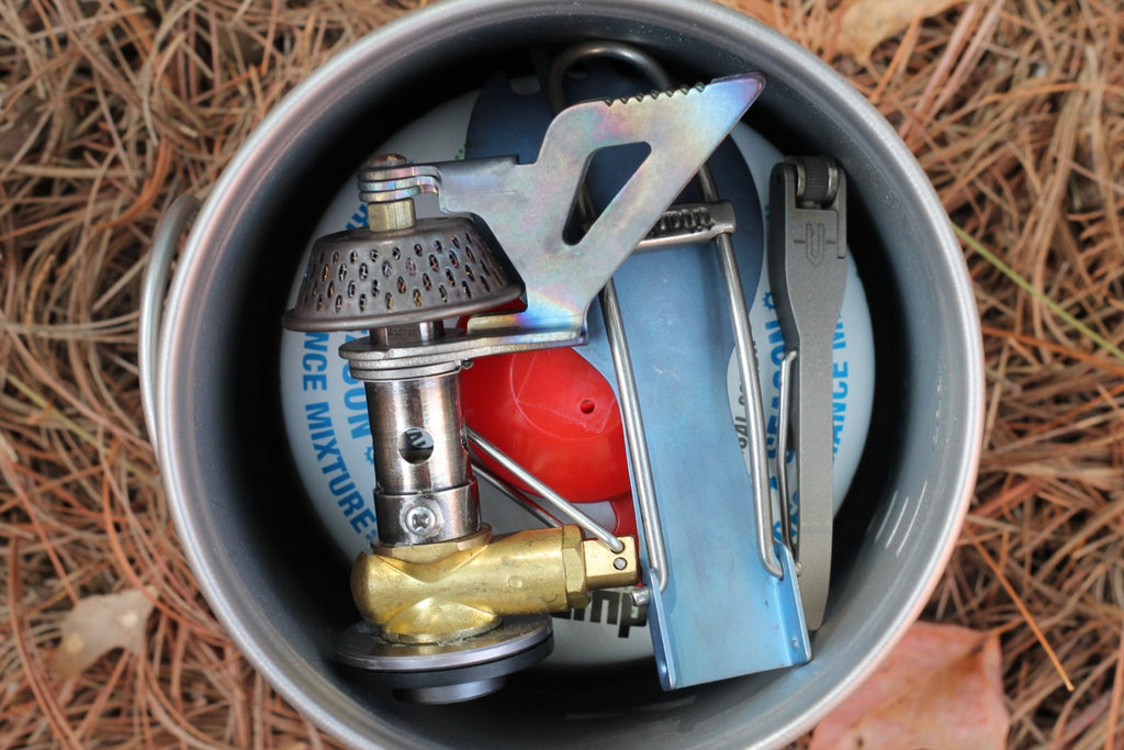 titanium cookware - backpacking pot with fuel canister
