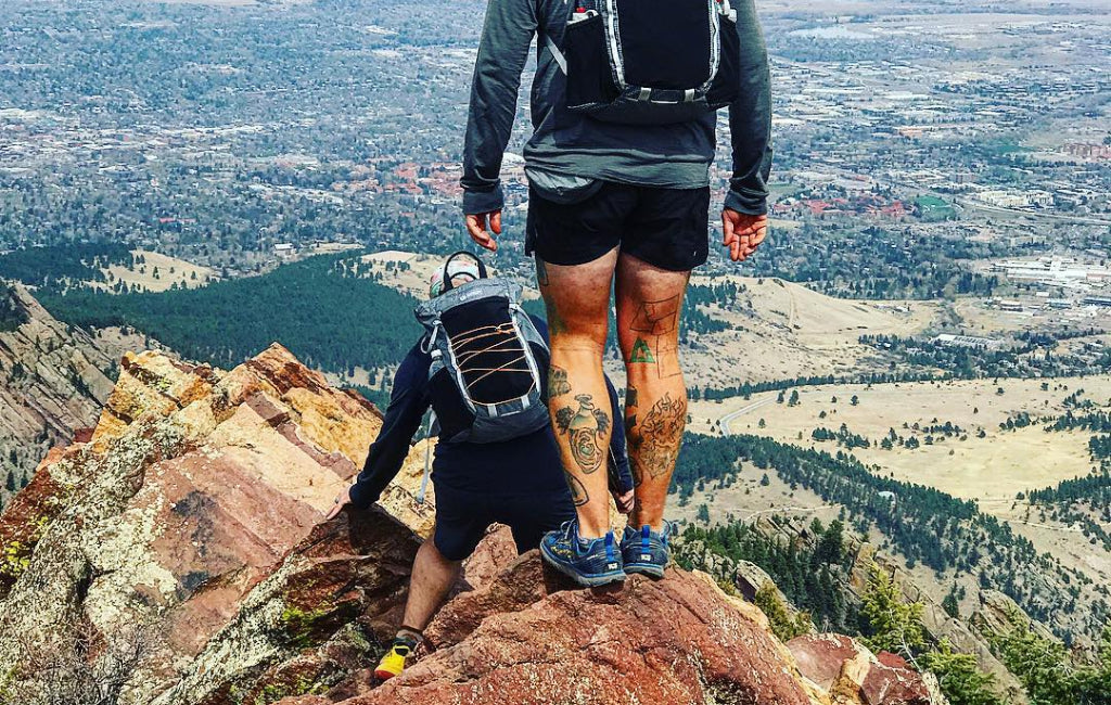 men hiking in shorts