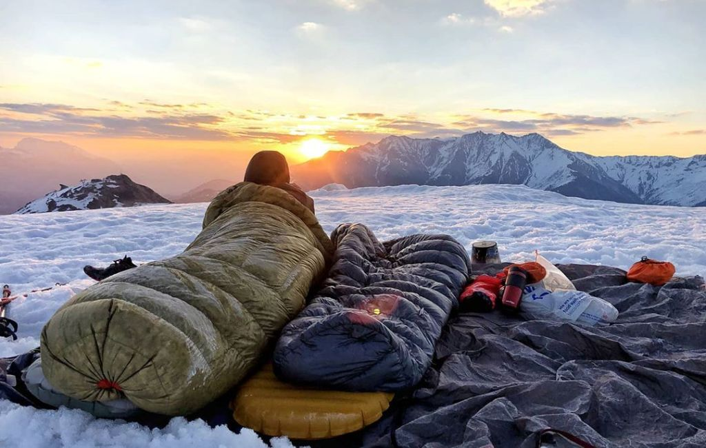 best backpacking quilt on mountain top