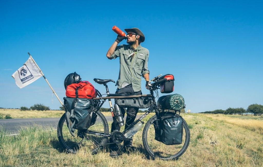 bicycle touring hydrating