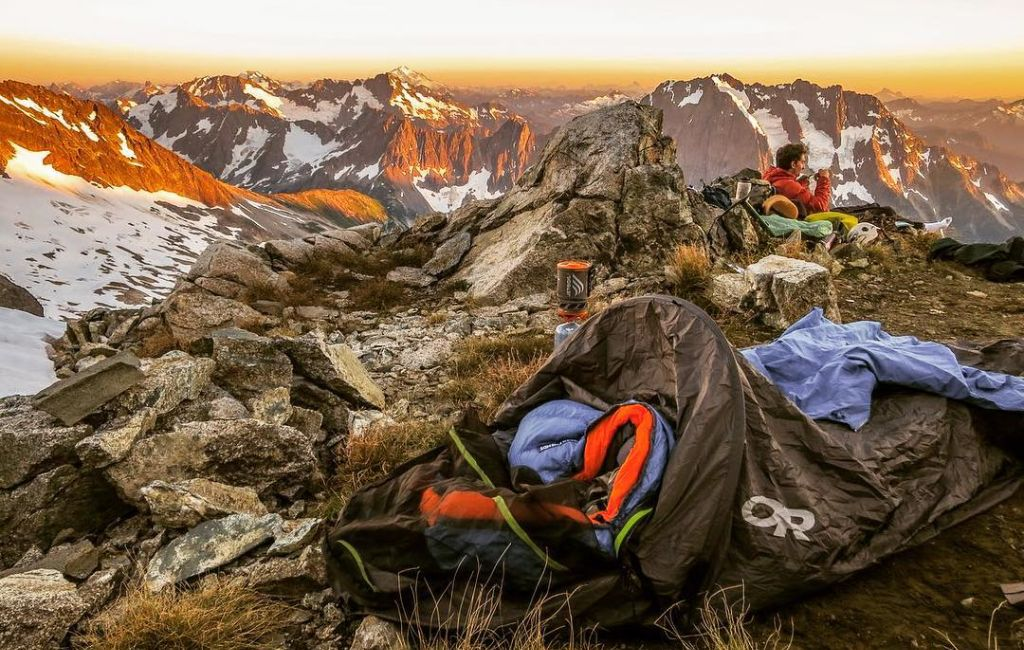 bivy sack with sleeping bag with mountain view