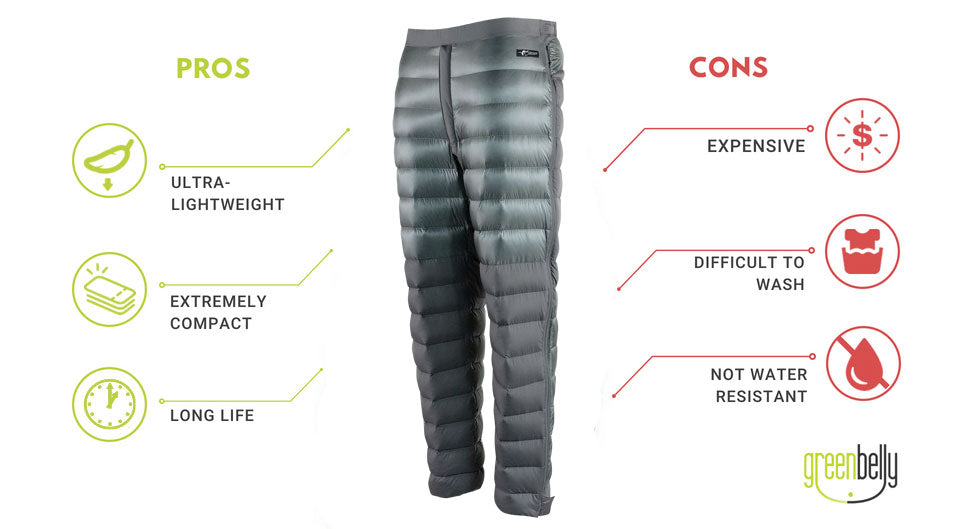 Down pants pros and cons