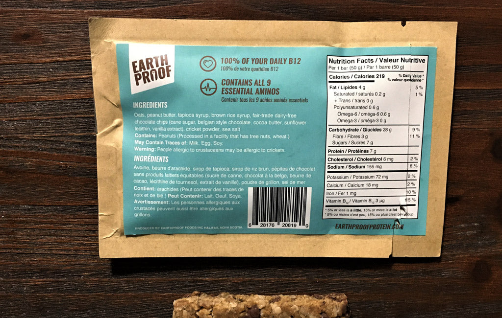 ingredients label on earthproof protein cricket bars