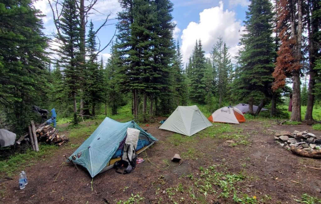 campsite on the great divide trail