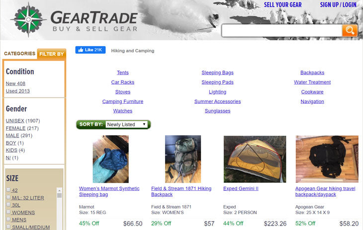 gear trade used backpacking gear