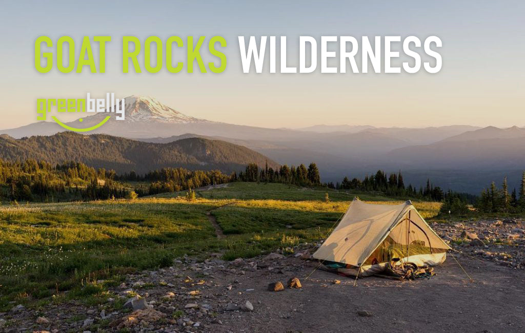Goat Rocks Wilderness camping with mountain rainier in the background