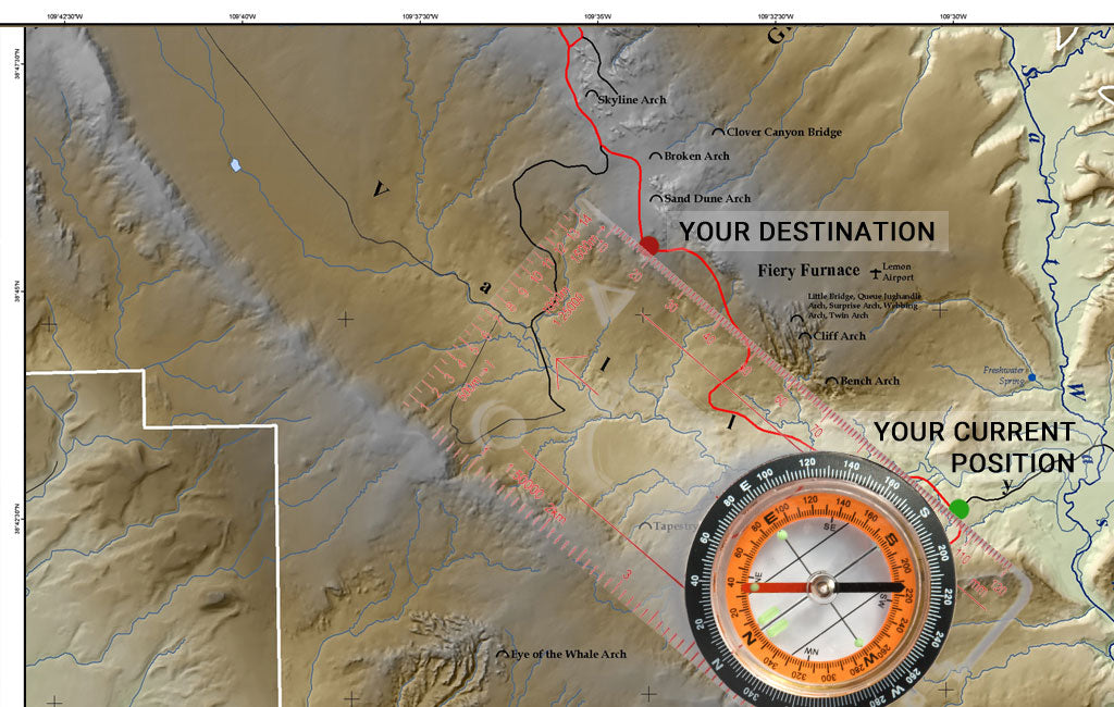 how to use a compass with a topo map