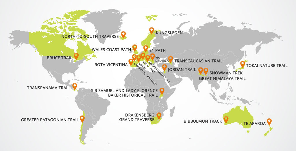 best long-distance hiking trails around the world map