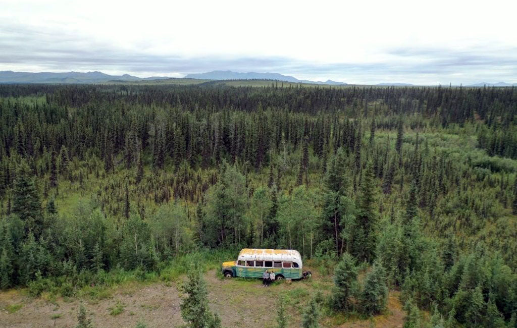 into the wild bus aerial shot