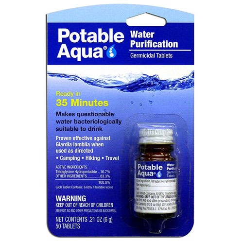 potable aqua water germicidal tablets for backpacking