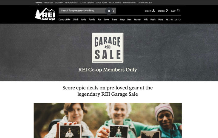 rei garage sale used backpacking gear