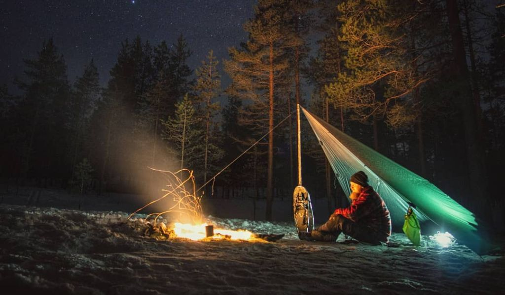 ultralight tarp shelter with fire