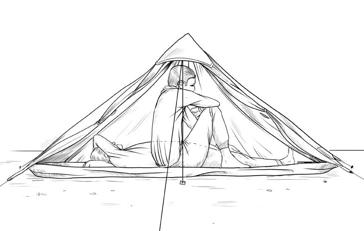 illustration of required ultralight tent interior space