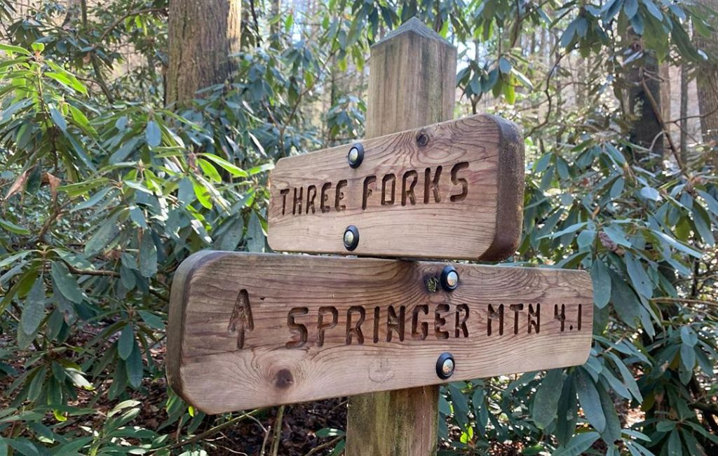 springer mountain three forks sign