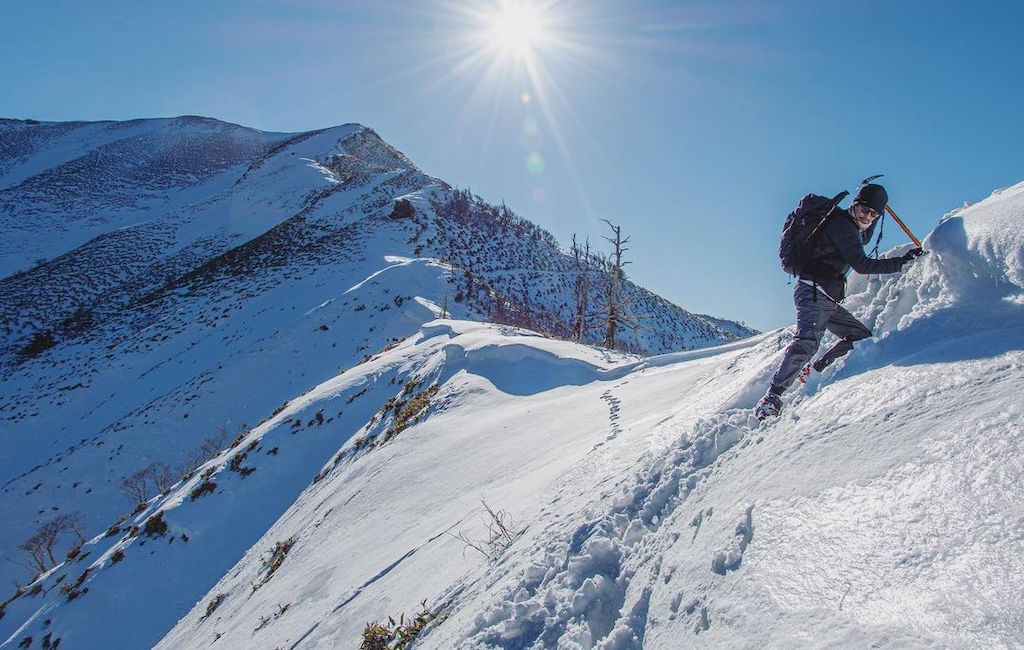 winter hiking with ice axe