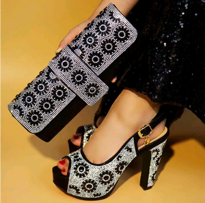 Rhinestone African shoes and bag set