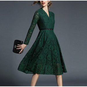 V-neck Green Lace Dress