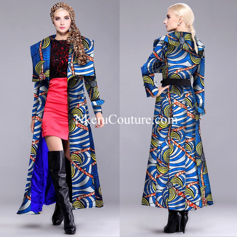 New African Style Women Long Coat Autumn Winter Long Slim Vintage Single-breasted Full lining plus size Jacket Coat DH8890