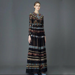 Long Dress New Fashion Brand Runway Dresses Empire Ancient Vintage Print Full Sleeve Long Dress For Women Z101