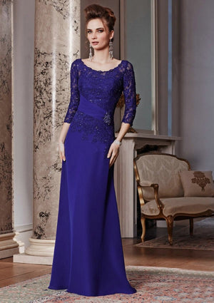 Mother Of The Bride Dress Women Elegant Long Chiffon Royal Blue Lace Dress With Sleeves TY77