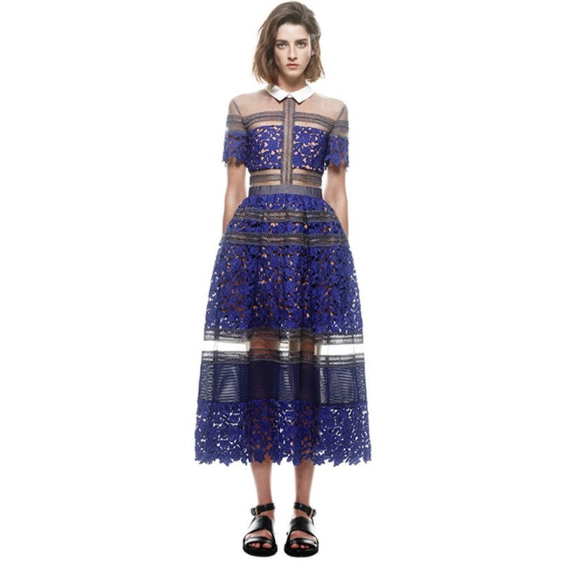 high quality summer new runway dress women lapel short sleeve sexy hollow out lace blue dress QE99