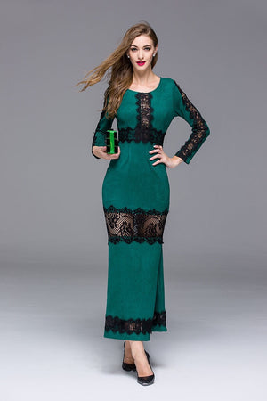 Sexy Dress Fashion Autumn Brand Dress Full Sleeve Lcae Splice Hollow Out Elegant Ankle-Length Dress G-322